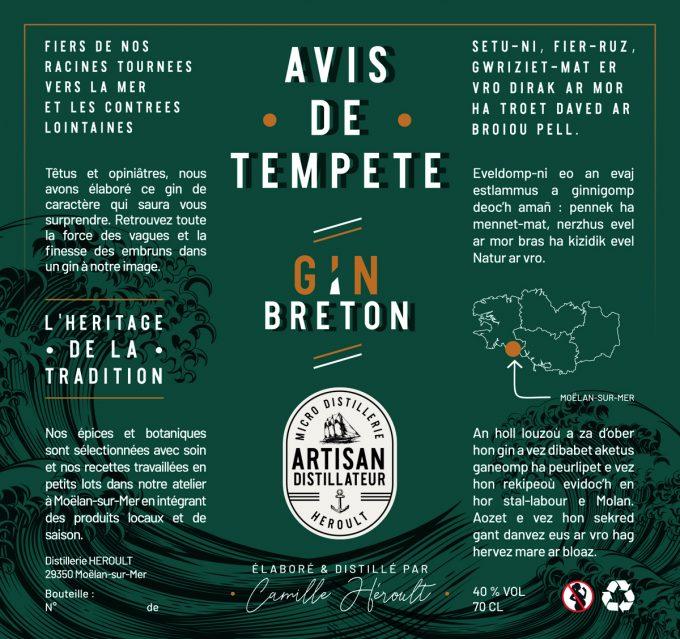 Distillerie Heroult - Gin Avis de Tempête