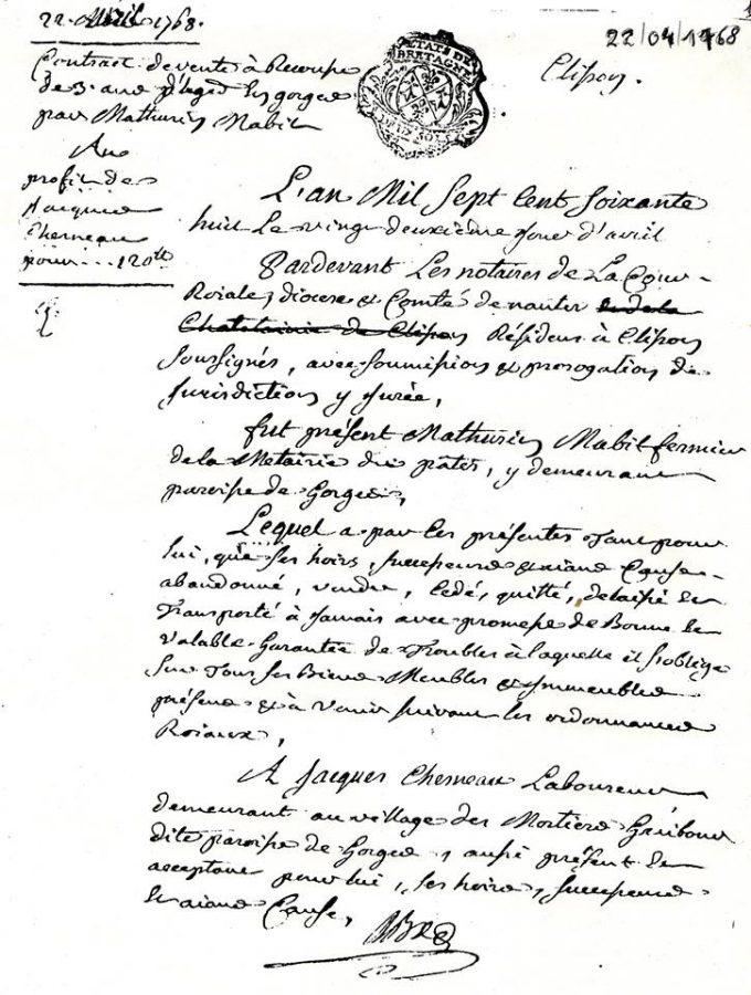 Acte d'achat du Vignoble par Jacques Chesneau en 1768
