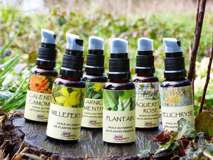 Vente d'huiles au parfum de plantes fraiches