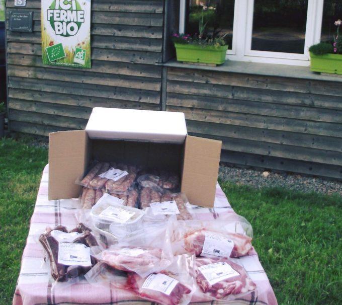 Colis de viandes de porc et de boeuf