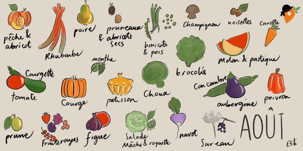 Août - Liste des fruits et légumes de saison