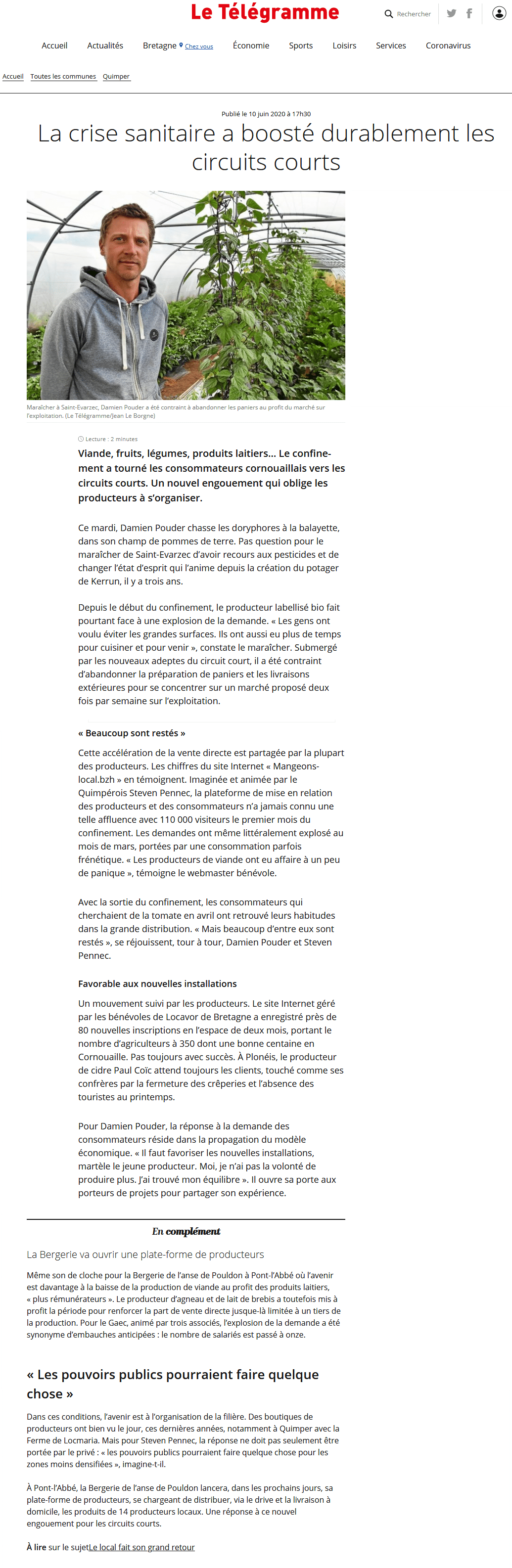 Article du Télégramme sur la Crise Sanitaire et le Circuit Court !