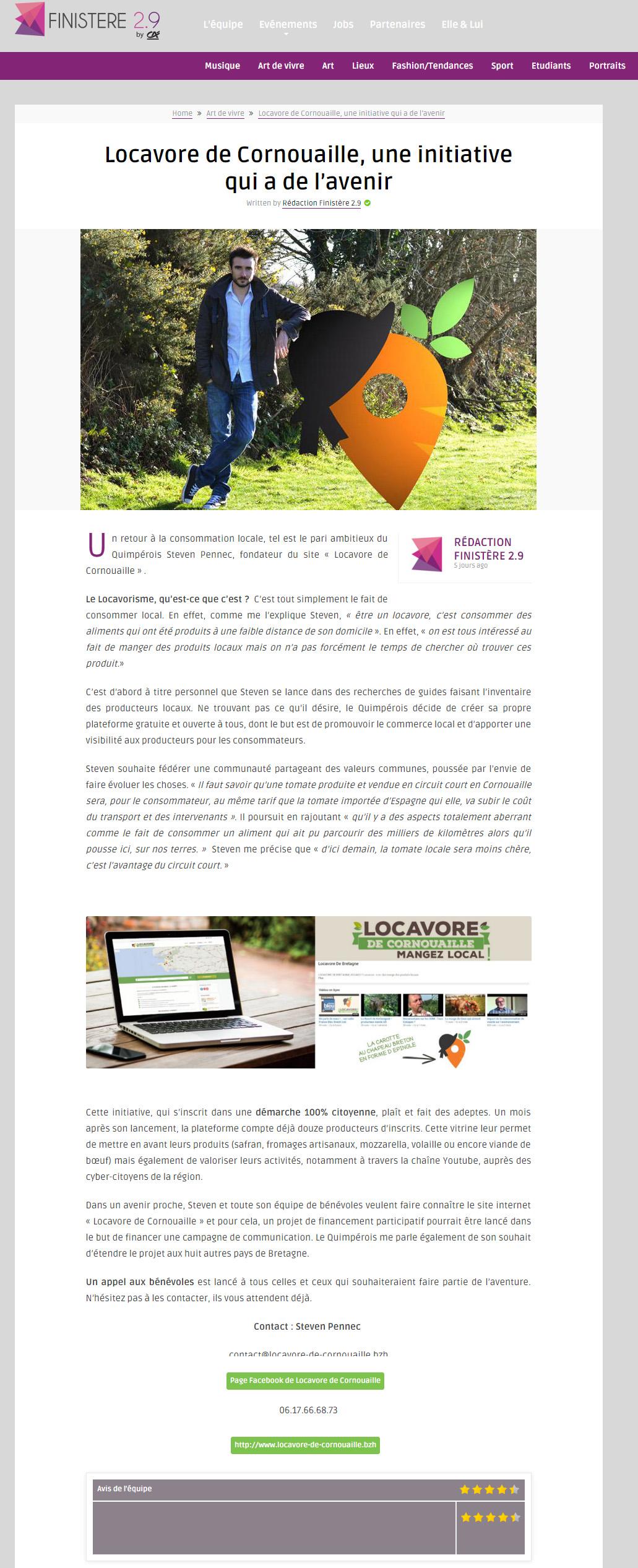 Nouvel article sur Mangeons-Local.bzh, sur Finistère2point9 !