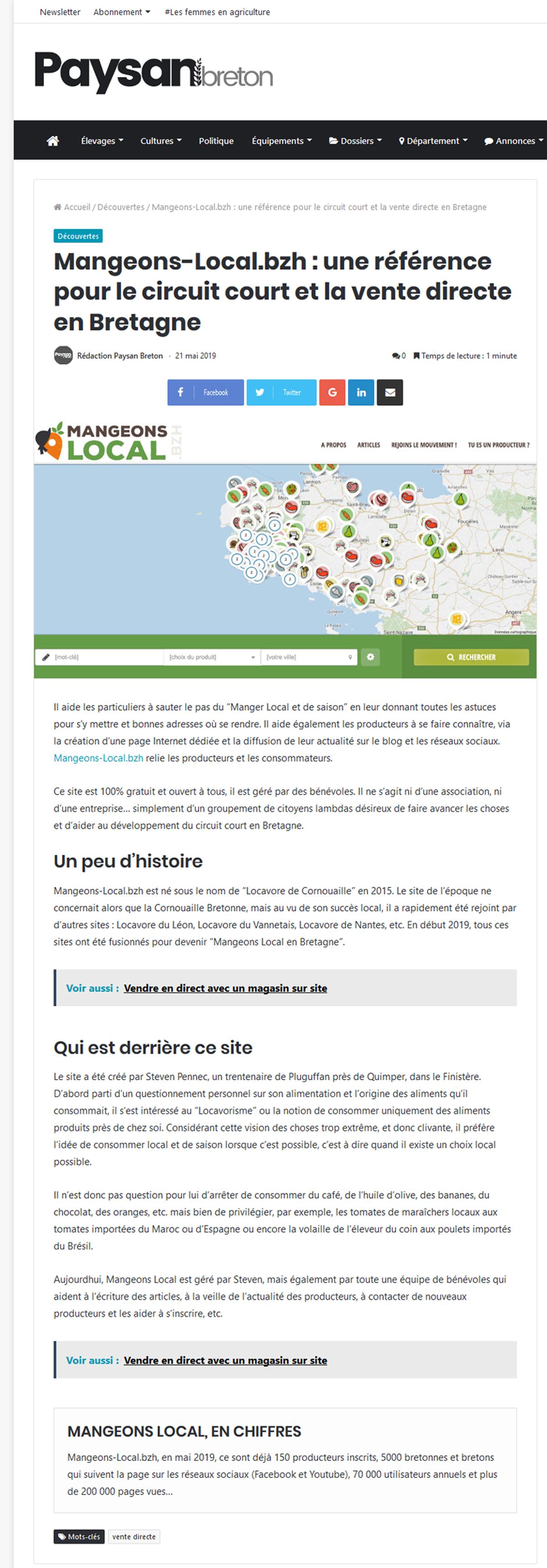 Paysan Breton parle de Mangeons Local !