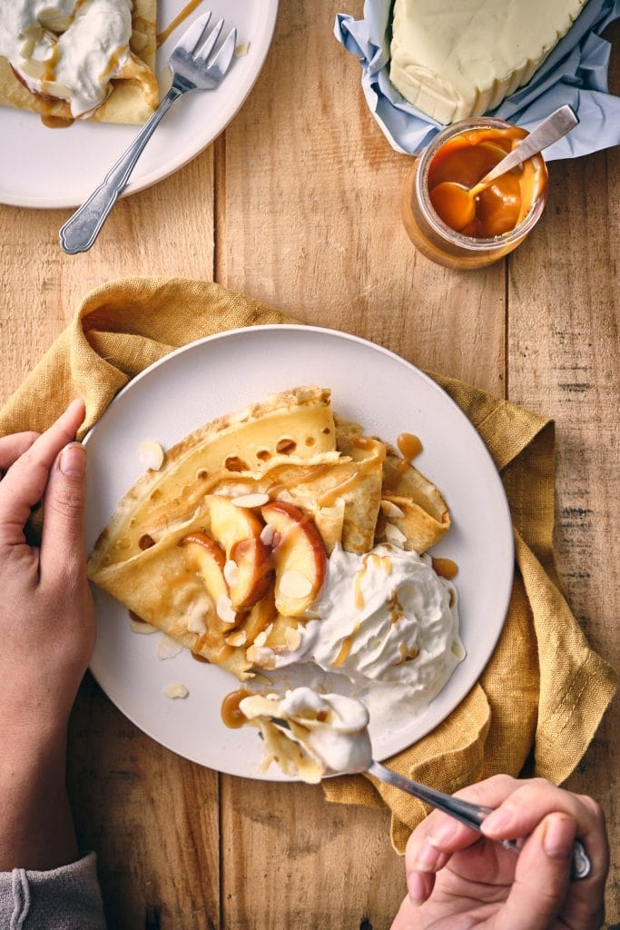 Recette de crêpes de froment et pommes caramélisées 💚